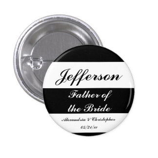 """""""Father of the Bride"""" Bold Stripes w/ Names & Date 3 Cm Round Badge"""