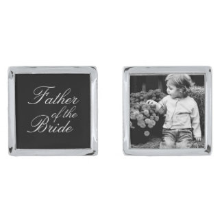 Father of The Bride Custom Photo Silver Finish Cuff Links