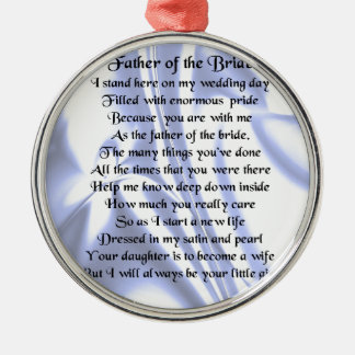 Father of the Bride Poem - Blue Silk Christmas Ornament