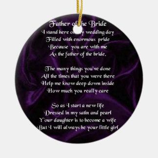 Father of the Bride - Purple Silk Christmas Ornament