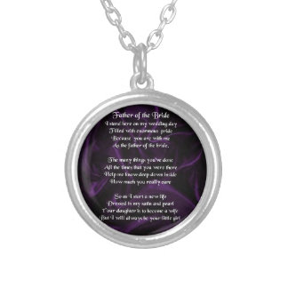 Father of the Bride - Purple Silk Round Pendant Necklace