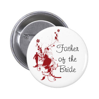 Father of the Bride Red Wedding Button