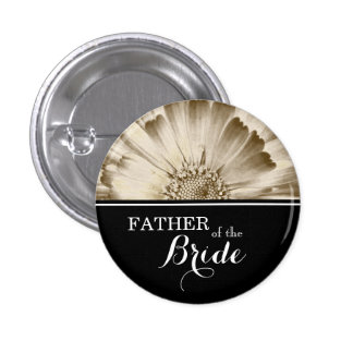 Father of The Bride Wedding Gold Daisy 3 Cm Round Badge