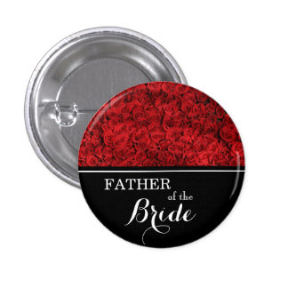 """""""Father of The Bride"""" Wedding Red Roses 3 Cm Round Badge"""