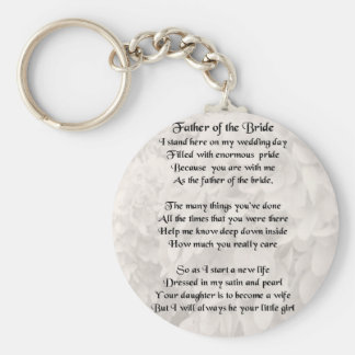 Father of the Bride - White Basic Round Button Key Ring