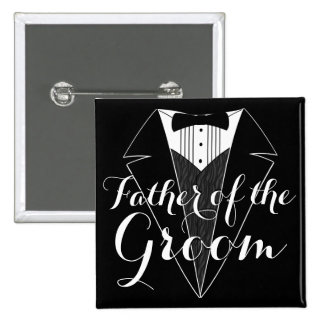 Father of the Groom Black Tux Wedding Party Button