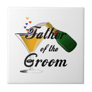 Father of the Groom Champagne Toast Small Square Tile