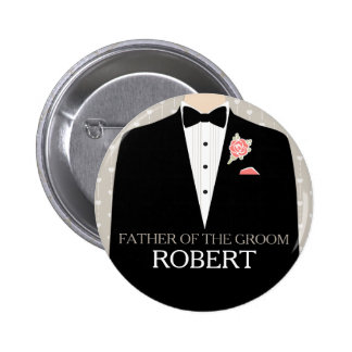 Father of the groom tuxedo name wedding pin button