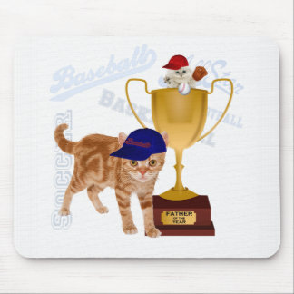 Father of the Year Trophy Baseball Cats for Dad Mouse Mat