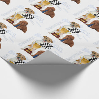 Father of the Year Trophy with Checkered Flag Dogs Wrapping Paper