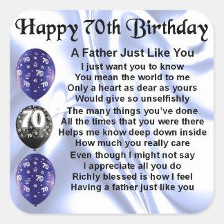 Father Poem - 70th Birthday Square Sticker