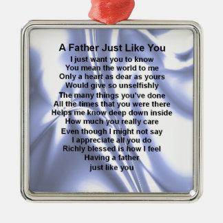 Father Poem  -  Blue Silk Design Christmas Ornament