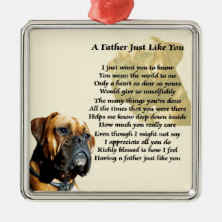 Father Poem - Boxer Dog Design Christmas Ornament
