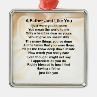 Father Poem  -  Cream Silk Design Christmas Ornament