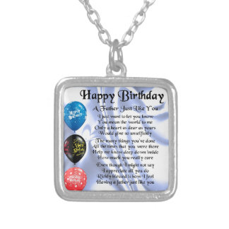 Father Poem - Happy Birthday Silver Plated Necklace
