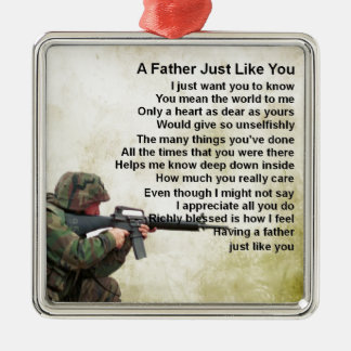 Father Poem  -  Soldier Design Christmas Ornament