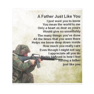 Father Poem  -  Soldier Design Notepad