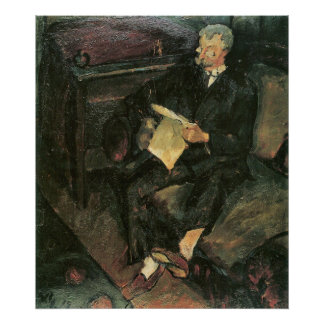 Father reading by Walter Gramatte Poster