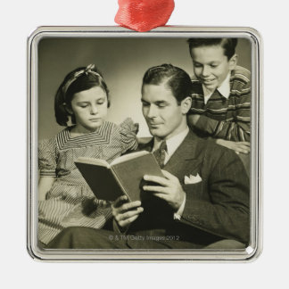Father Reading to Son Christmas Ornament