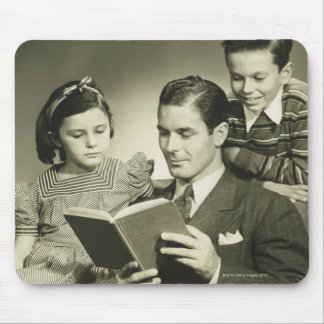 Father Reading to Son Mouse Mat