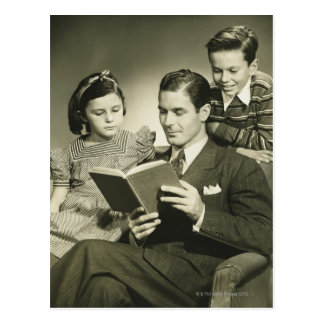Father Reading to Son Postcard