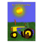 Father's Day Fishing Pole and Green Tractor Card