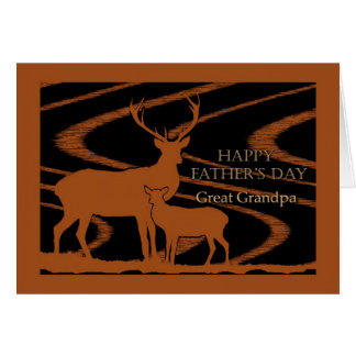 Father s Day for Great Grandpa Deer in Field Greeting Card