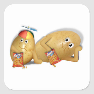 Father Son Spuds Square Stickers