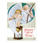 Father Time Baby New Year Hourglass Postcard