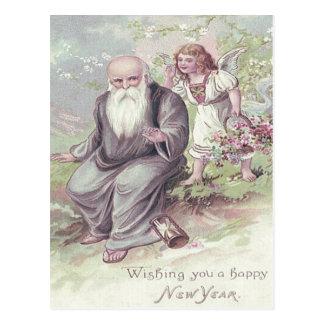 Father Time Cherub Angel Basket Hourglass Postcard