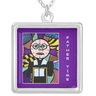 Father Time On Purple - Time Pieces Bright Colors Silver Plated Necklace