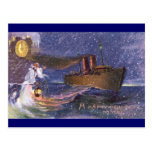 Father Time & Steamship Vintage New Year Post Card