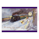 Father Time & Train Vintage New Year Greeting Card