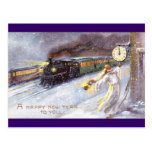Father Time & Train Vintage New Year Postcard