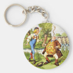 Father William Balances an Eel on His Nose Basic Round Button Key Ring