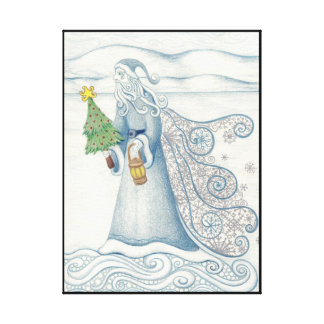 Father Winter Wrapped Canvas Print