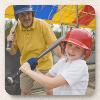 Father with daughter at batting cage coaster