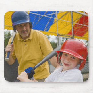 Father with daughter at batting cage mouse pad