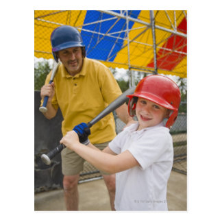 Father with daughter at batting cage postcard