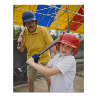 Father with daughter at batting cage poster
