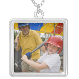 Father with daughter at batting cage silver plated necklace