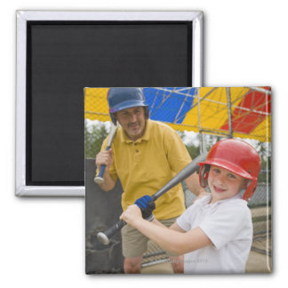 Father with daughter at batting cage square magnet