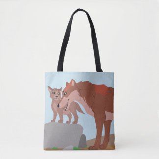 Father Wolf and Pup Tote Bag