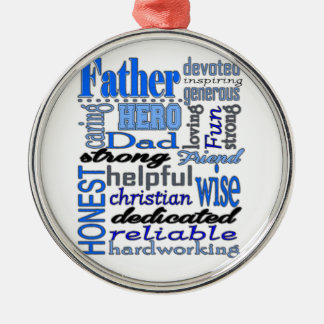 Father Words Day Dad Daddy Papa Pawpaw Silver-Colored Round Decoration