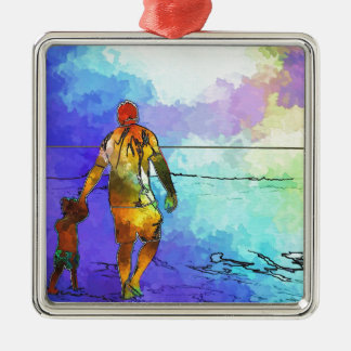 Fatherhood By The Ocean Christmas Ornament