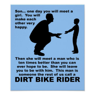 Fatherly Advice Dirt Bike Motocross Funny Poster