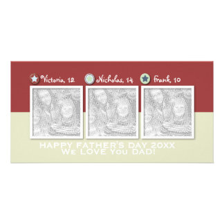 Fathers Day - ADD YOUR PHOTOS - 3 Stars Photo Card