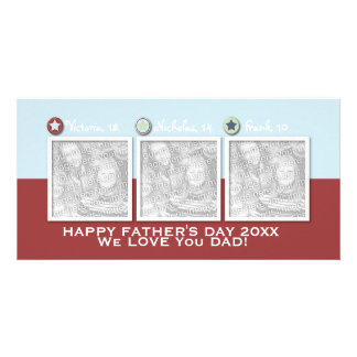 Fathers Day - ADD YOUR PHOTOS - 3 Stars Photo Card Template