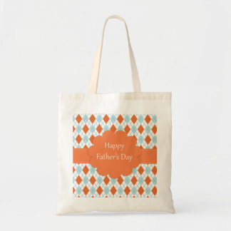 Father's Day Argyle Pattern Budget Tote Bag