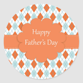 Father's Day Argyle Pattern Classic Round Sticker